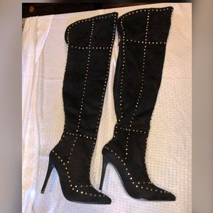 Gold Stud Black Suede Over the Knee Boots
